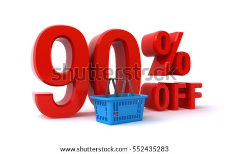90 percent discount (3d rendering)