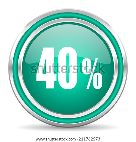 40 percent green glossy web icon