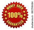 100 percent money back guaranteed , red and gold warranty label isolated on white - stock vector