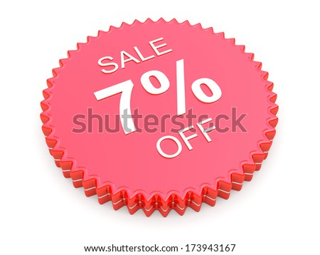 7 Percent OFF Discount Label on white background