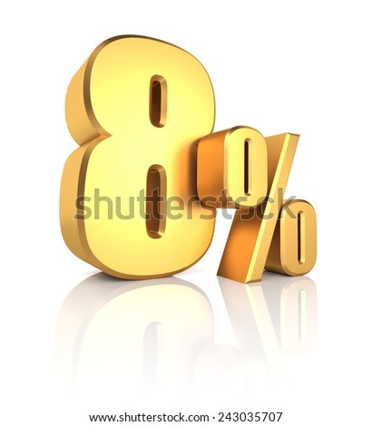 8 percent off. Gold metal letters on reflective floor. White background. Discount 3d render