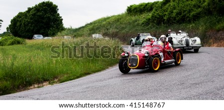 PESARO, ITALY - MAY 15 :BENEDETTI Giannini 750 S 1950   old racing car in rally Mille Miglia 2015 the famous italian historical race (1927-1957) on May 2015