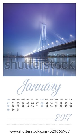 2017 photo calendar with beautiful landscape. January.