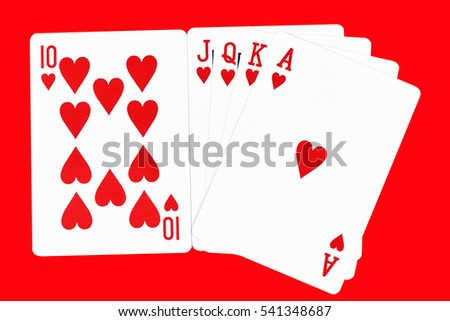Poker card game with 10, J, Q, K, A, on a red background.