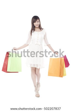 Portrait of young woman shopping,portrait