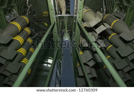 1500 pounds of general purpose bombs loaded in a WWII B-17 bomb bay