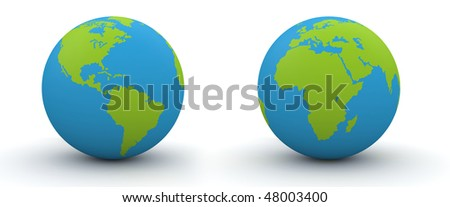 7000 px two hemispheres of a globe (highres 3d isolated objects on ...