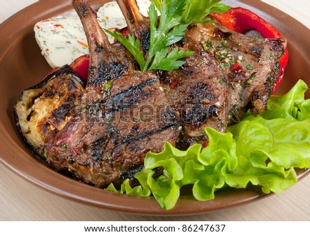 rack of lamb .cooking meat  barbecue