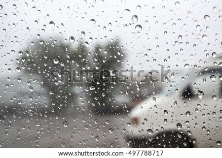 raindrops on glass auto Rainy weather