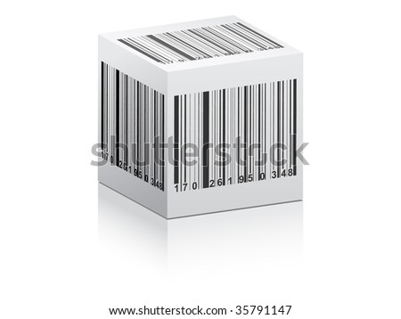 (raster image of vector) bar code on white box