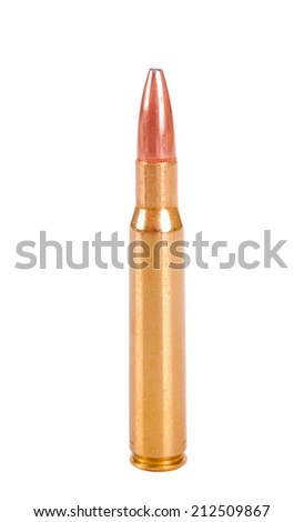 30-06 rifle Cartridge with a soft nose hunting bullet, isolated on white
