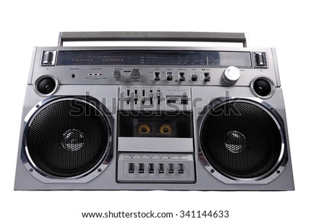 1980s Silver retro ghetto radio boom box isolated on white background with clipping path