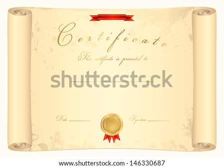 Scroll Certificate Completion Template Parchment Paper Stock ...