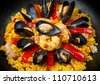 Seafood Spanish Paella, traditional recipe - stock photo