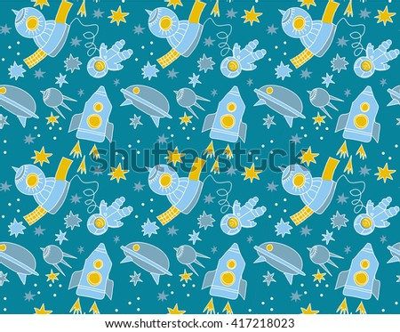 seamless pattern of space and star