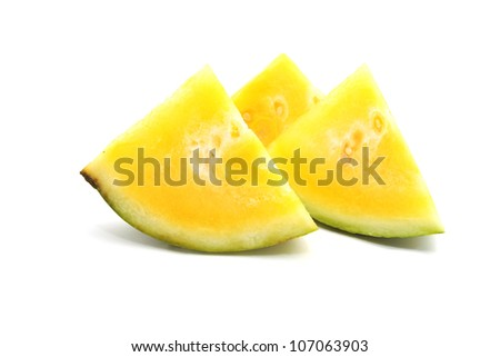 seedless yellow watermelon isolated on white background