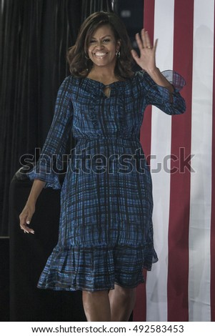 27 September 2016 - Philadelphia ,USA - First Lady Michelle Obama holds campaign rally for Hillary Clinton in Philadelphia Lasalle University.
