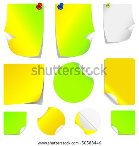 Set of different colors, realistic stickers with peeling corners.