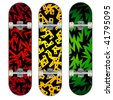 Set of Three Skateboard Designs - stock vector