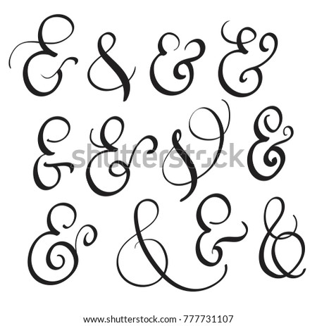 Vector set vintage sign ampersand on stock vector Calligraphy and sign