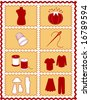 Sewing, Tailoring Tools for dressmaking, textile arts, do it yourself crafts, hobbies, fashion model, pincushion, straight pins, thimble, needle, thread, clothes patterns, red, gold rick rack frame.  - stock vector