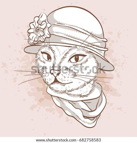 Vector Elegant Woman Cats Head Stock Vector 598411949 ...