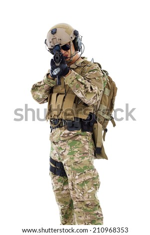 soldier targeting with rifle or sniper  ,isolated on white background