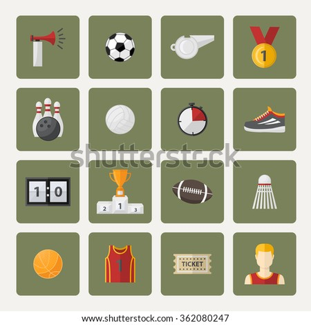 Sports icon,sign,symbol,pictogram set,collection in flat style , with sport horn,soccer ball,cup,scoreboard,whistle,badge,sneakers,athletic form,ticket.Different sports equipment.Sports games