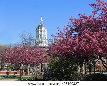 springtime at   Jesse hall  on the university of missouri campus, columbia, missouri