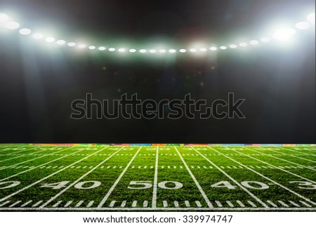 Stadium night, lit. with green grass