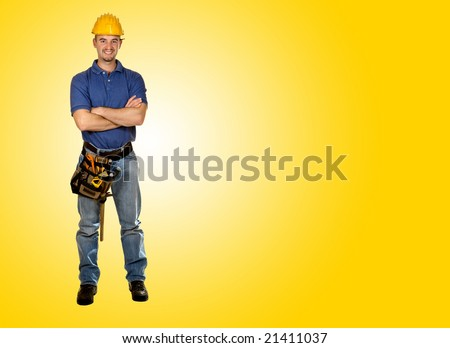 standing young worker with space for text