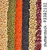 striped rows of lentils, beans, peas, soybeans, legumes,  backdrop - stock photo