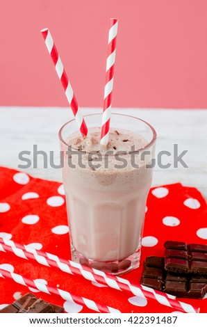 summer cooling drink, chocolate milkshake with cocoa and ice cream on a wooden background