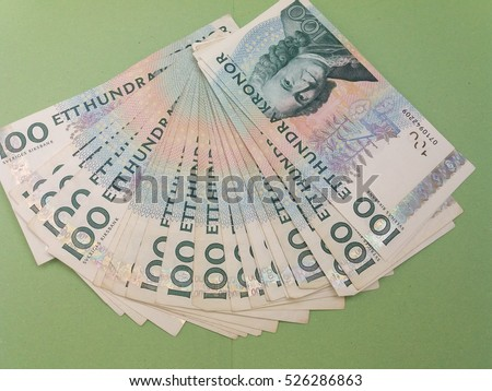 100 Swedish Krona (SEK) banknotes, currency of Sweden (SE)