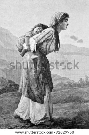 """Tatar woman with a child"". Engraving by Helmitsky from picture by painter Platonov. Published in magazine ""Niva"", publishing house A.F. Marx, St. Petersburg, Russia, 1893"