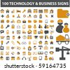100 technology & business signs - stock vector