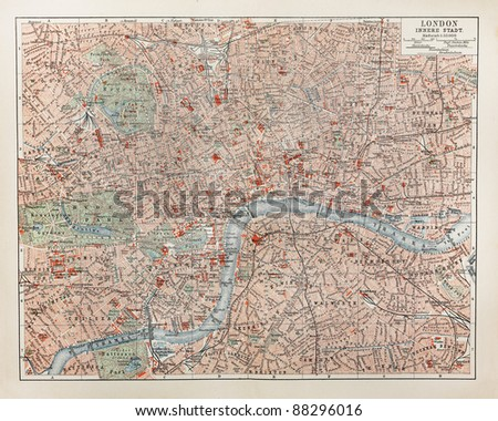 19th century old map of London