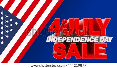 4th JULY INDEPENDENCE DAY SALE illustration 3D rendering