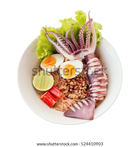 Thai style noodle sea food isolated on white with clipping path