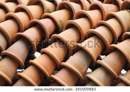 the row from many flowerpots of clay in Thailand.