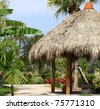 Tiki hut with thatched roof & tropical landscaping. - stock photo