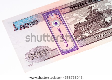 5000 togrog bank note. Togrog is the national currency of Mongolia