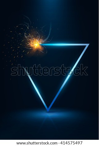 triangular frame with realistic flashes ,sparks and shadow .