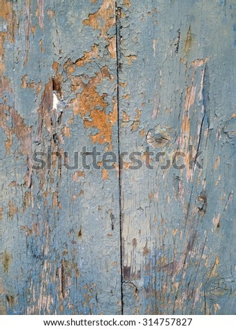 Two old blue wooden board