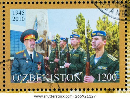 UZBEKISTAN - CIRCA 2010: A stamp printed in Republic of Uzbekistan dedicated to the victory in World War II