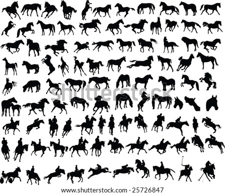 100 vector silhouettes of horses and riders