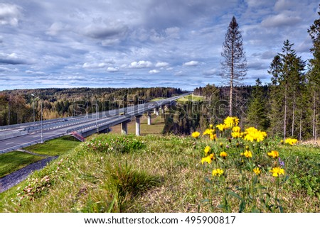 Viaduct bridge on highway that crosses Russian forest, sunny day.