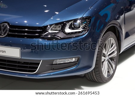 2015 Volkswagen Sharan presented the 85th International Geneva Motor Show on March 3, 2015 in Palexpo, Geneva, Switzerland