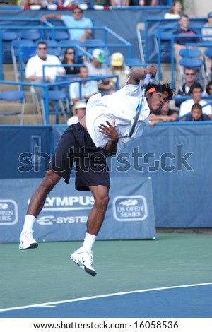 WASHINGTON, D.C. - AUGUST 11, 2008:  Sumden Devvarman (IND) defeats Taylor Dent (USA, not pictured) in the first round of play at the Legg Mason Tennis Classic.