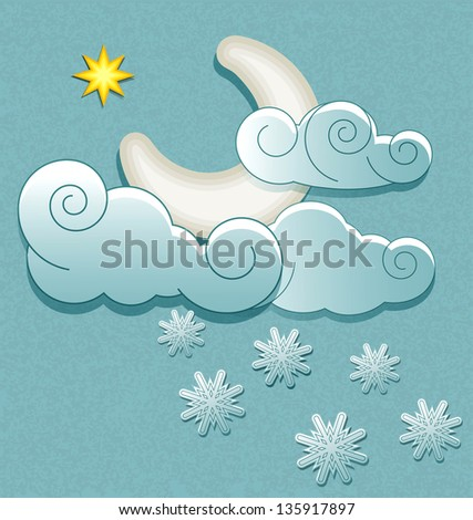 weather icons in retro style. Moon in the clouds with stars and snowflakes
